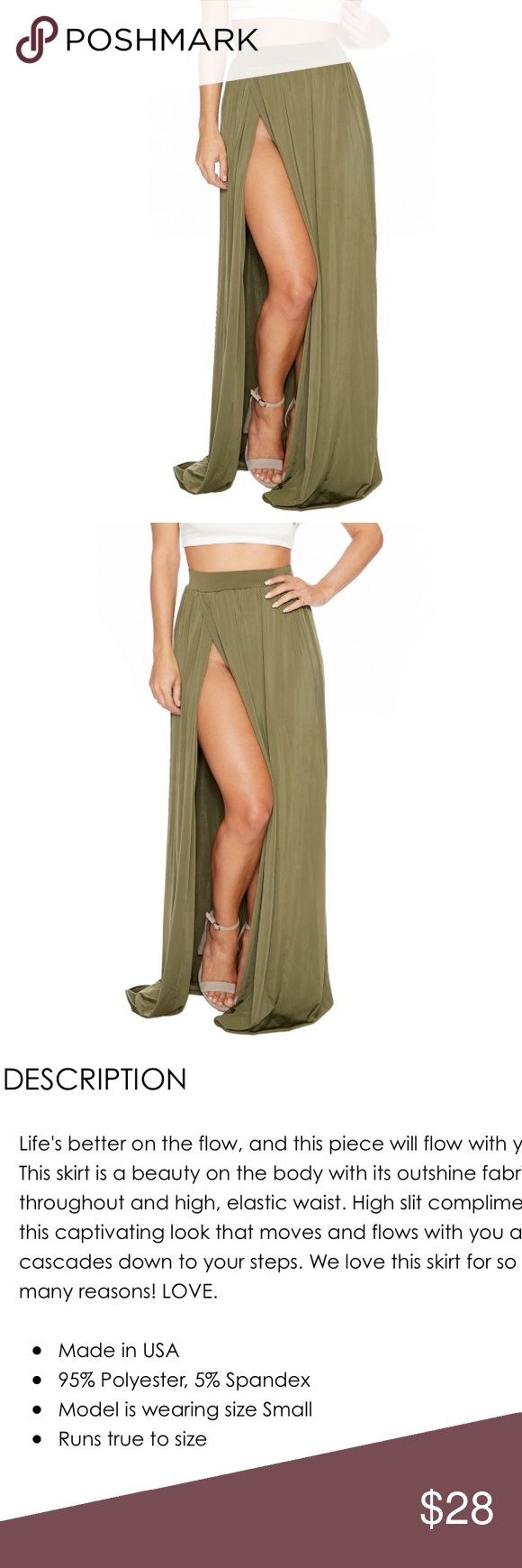 Olive Maxi skirt with slit Slit 🛍🎉🎀 Naked Wardrobe Maxi skirt with Slit. Naked Wardrobe  Skirts Maxi