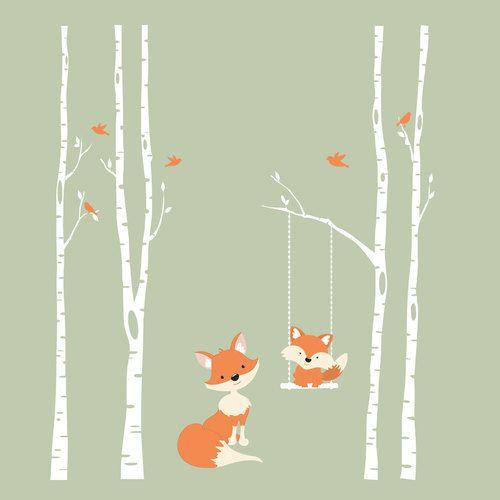 www.ameridecals.com Stickers muraux Fox pour la forêt et la forêt 4 arbres de bouleau …   – Children