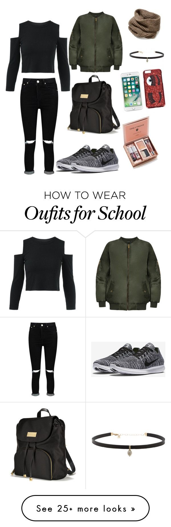 """School look"" by llookss on Polyvore featuring Boohoo, WearAll, NIKE, Victoria's Secret, Chiara Ferragni, Lafayette 148 New York and Carbon & Hyde"