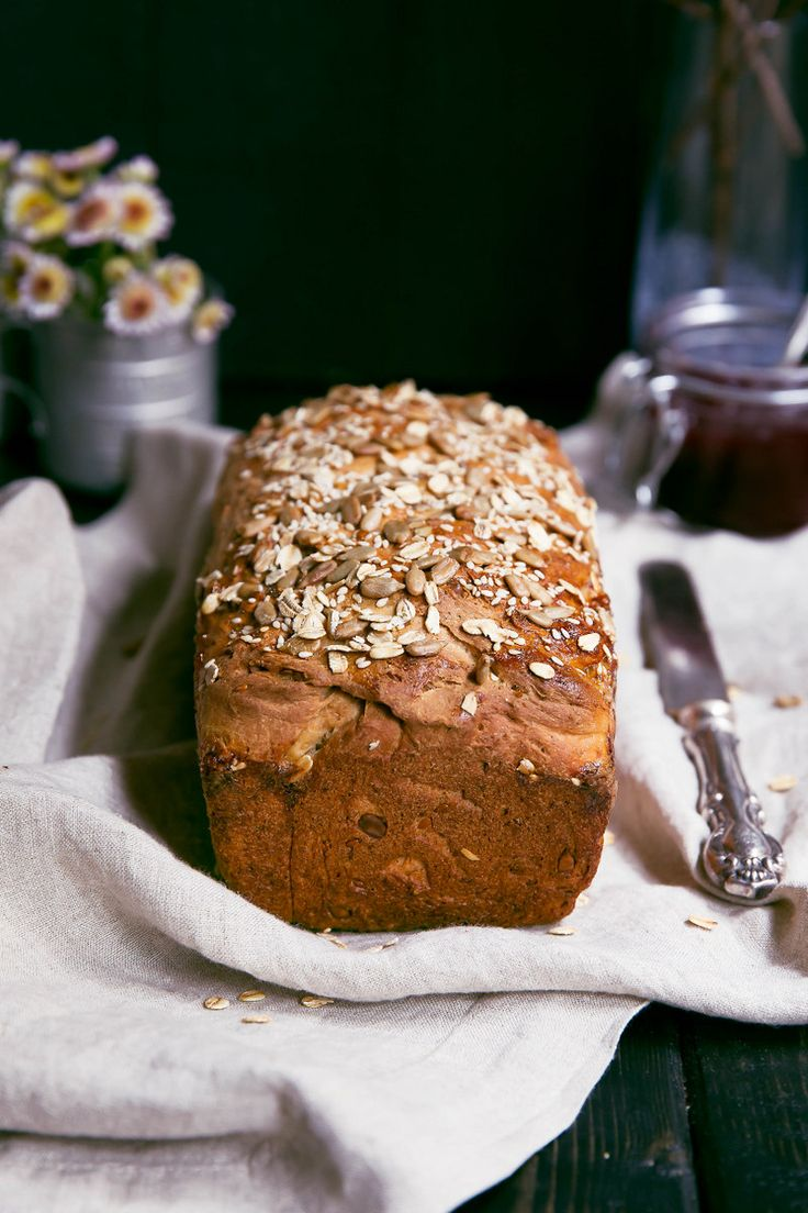 My Grandmother's recipe for a delicious toasting honey oatmeal bread made with whole wheat flour and sunflower & flax seeds. Great for breakfast!