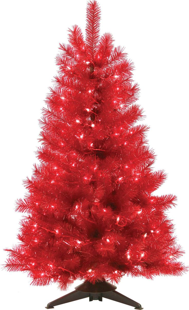general foam plastics mountain king prelit artificial christmas tree red trans 4 foot - Mountain King Christmas Trees