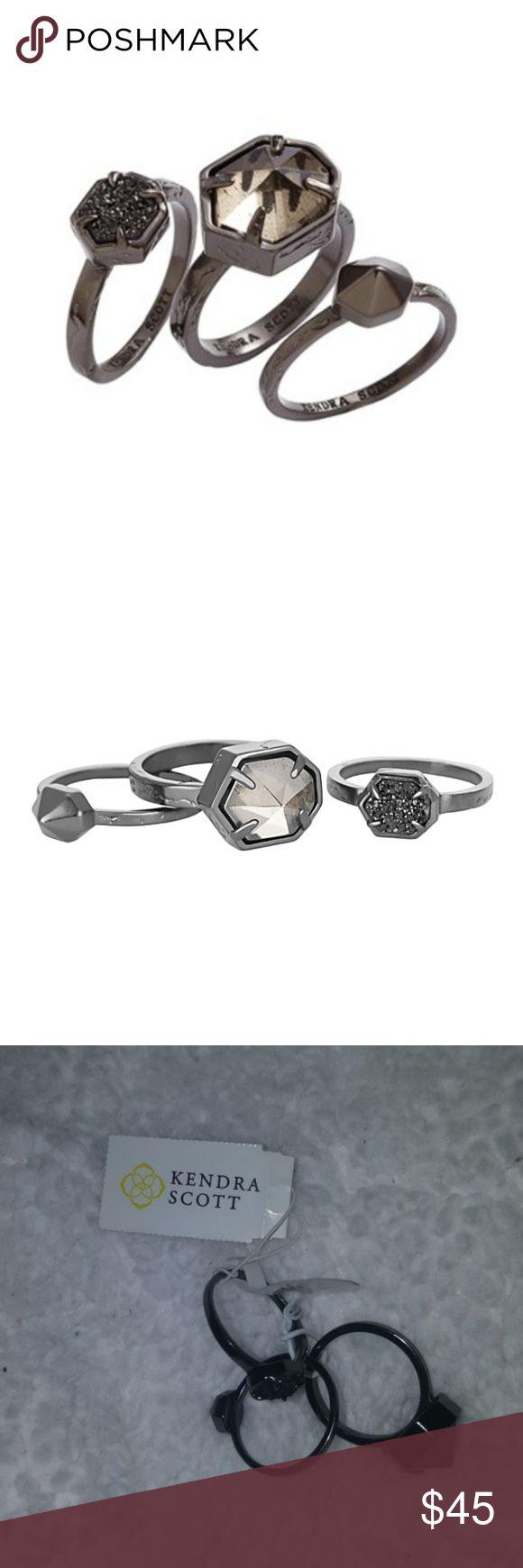 Beautiful Kendra Scott Mariam Set Black Rings Beautiful Kendra Scott Mariam Set of three Black Rings size 7 gunmetal Kendra Scott Jewelry Rings
