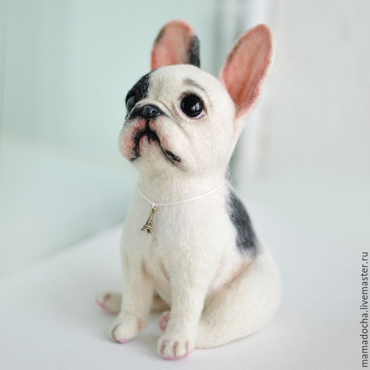 """Needle Felted French Bulldog """"In the clouds"""" made by artists MamaDocha"""