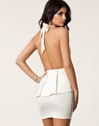 White front low cut peplum dress available from Lush #lushwear #southafrica #fashion #fashion2015 #peplum #dress #dresses