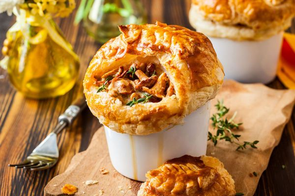 Vegetarian Recipe: Mushroom Pot Pies  Cut the calories from the meat and still enjoy pot pie.