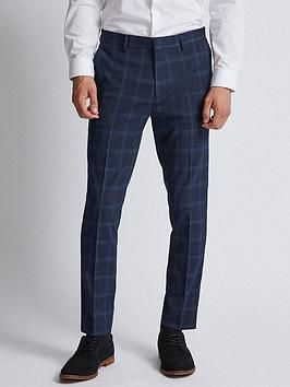 Burton Menswear London Burton Window Check Trousers, Navy, Size – Navy – 48, Length Regular