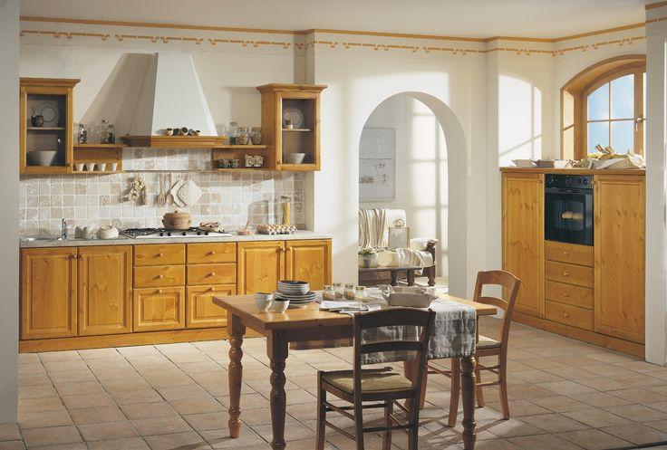 Cucina rustica componibile in legno massiccio, completa di tavolo ...