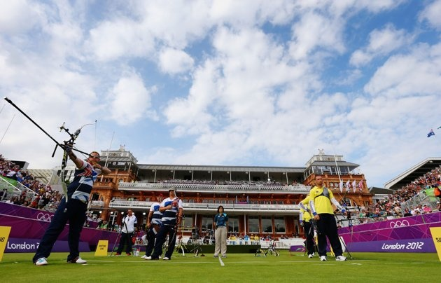 Larry Godfrey of Great Britain in action in the Men's Team Eliminations match between Great Britain and Ukraine on Day 1 of the London 2012 Olympic Games at Lord's Cricket Ground on July 28, 2012 in London, England.
