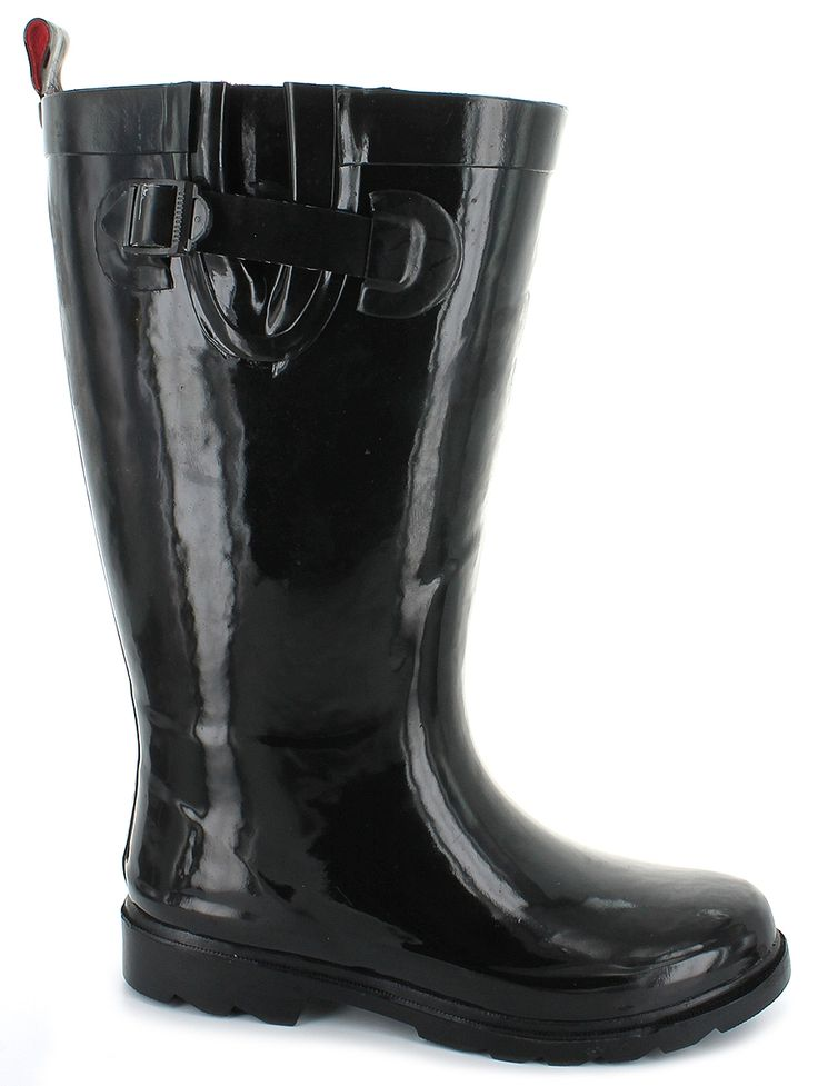 The Capelli® RBT-4023 Wide Shaft Features: rubber upper, buckle and strap detailing on side with a pull-tab on the back heel, Wide Shaft, lightly padded insole, flexible rubber outsole, raised heel