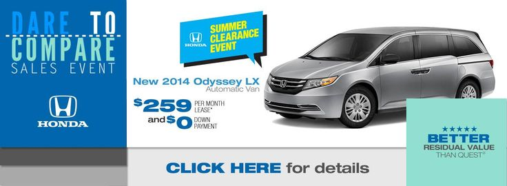 Only at Holmse Honda will you pay $0 Down to lease the 2014 Honda Odyssey LX. #ZeroDownAtHolmes