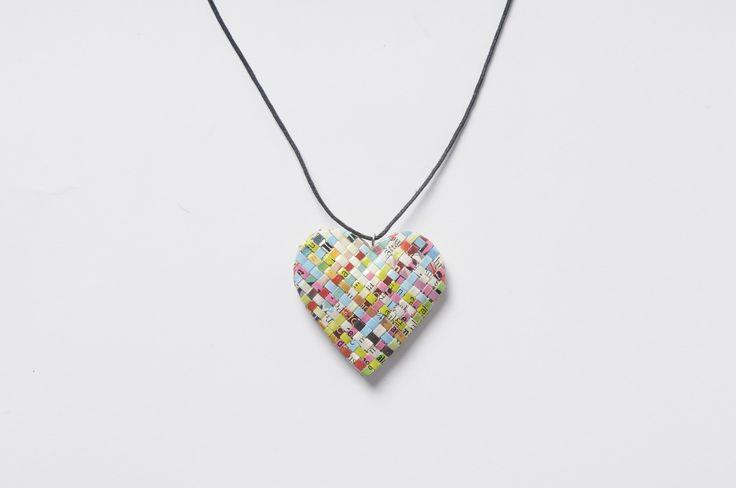 Heart shape magazine-paper necklace