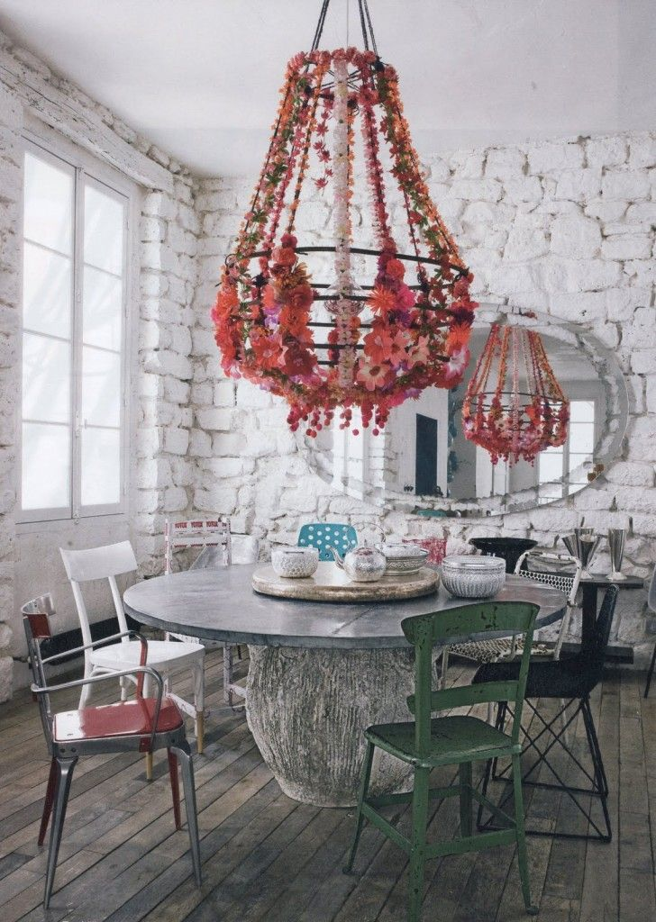 Rustic meets eclectic.: Dining Rooms, Paolanavon, Idea, Stones Wall, Interiors Design, Dining Nooks, The Rules, Flower, Science Navon