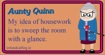 Housework. Visit Ireland Calling for more Irish humour and wisdom.