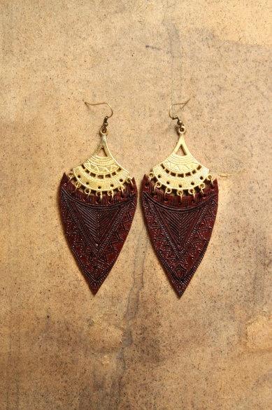 long Aztec Mayan Goddess Earrings via Etsy