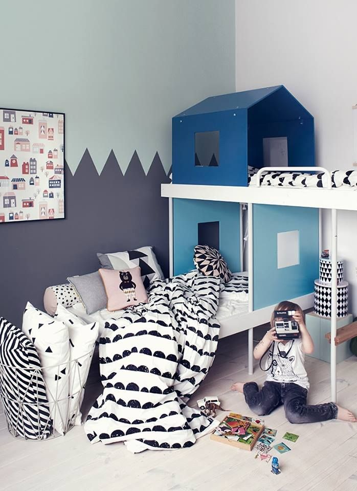 shared kids room - bunk beds, ferm living bedding.