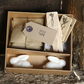 Mr. McGregor Gift Set: A delightful gift set for the budding child gardener. Each box includes: Carrot, lettuce, radish and parsley seed tape, 4 plant labels, 2 rabbit soaps
