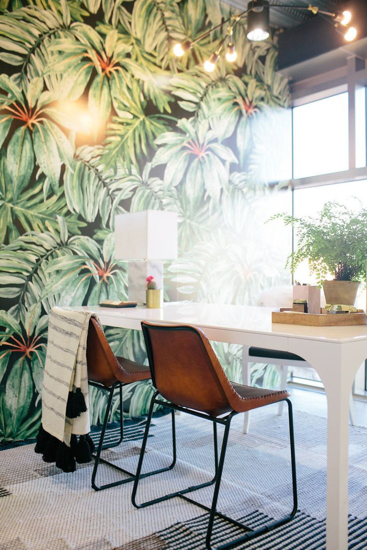 Jungle glam dream office Read More on SMP: http://www.stylemepretty.com/living/2016/08/26/this-might-be-the-coolest-office-space-weve-ever-seen-no-it-is/