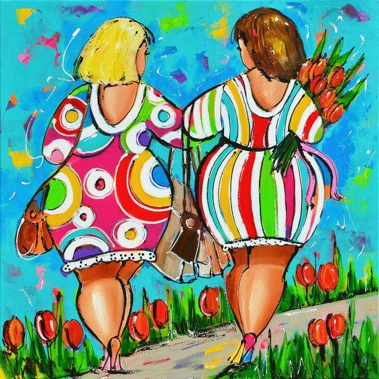 Dames hand in hand van de kunstenaars van Vrolijk Schilderij. Acrylverf op Canvas. Origineel 100 x 100
