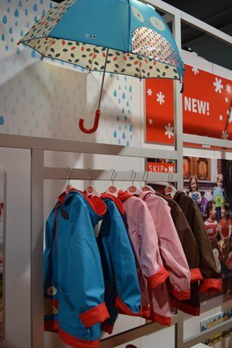It's raining, it's pouring . . . Skip Hop is introducing raincoats and umbrellas for kids from 2T to 4T. The raincoats have long, rollable sleeves, so they will last for more than one season.
