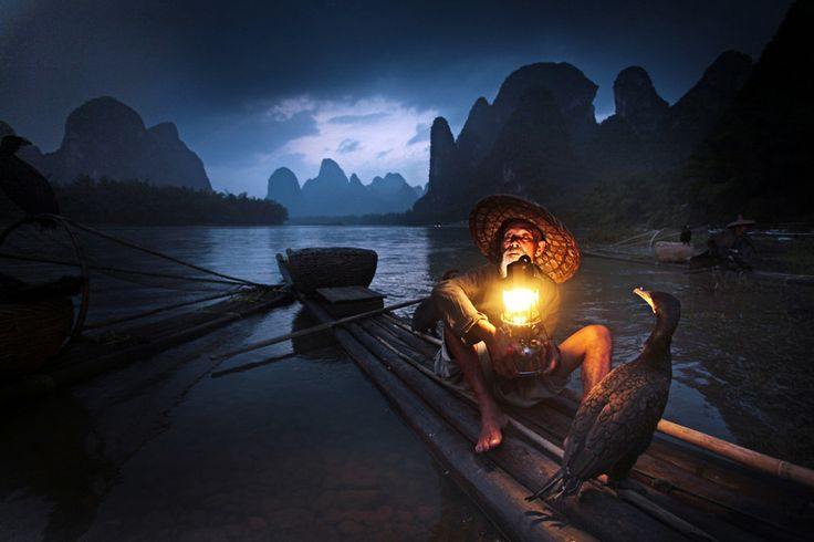 """""""Old Fisherman and Cormorants, Guilin"""" by Woosra Kim"""