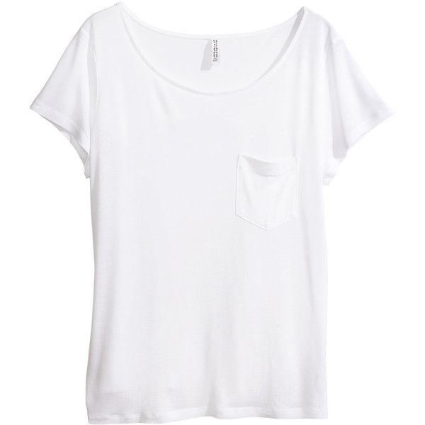 H&M Top ($11) ❤ liked on Polyvore featuring tops, t-shirts, shirts, tees, white, h&m, white tops, h&m shirts, h&m tops and short sleeve shirts