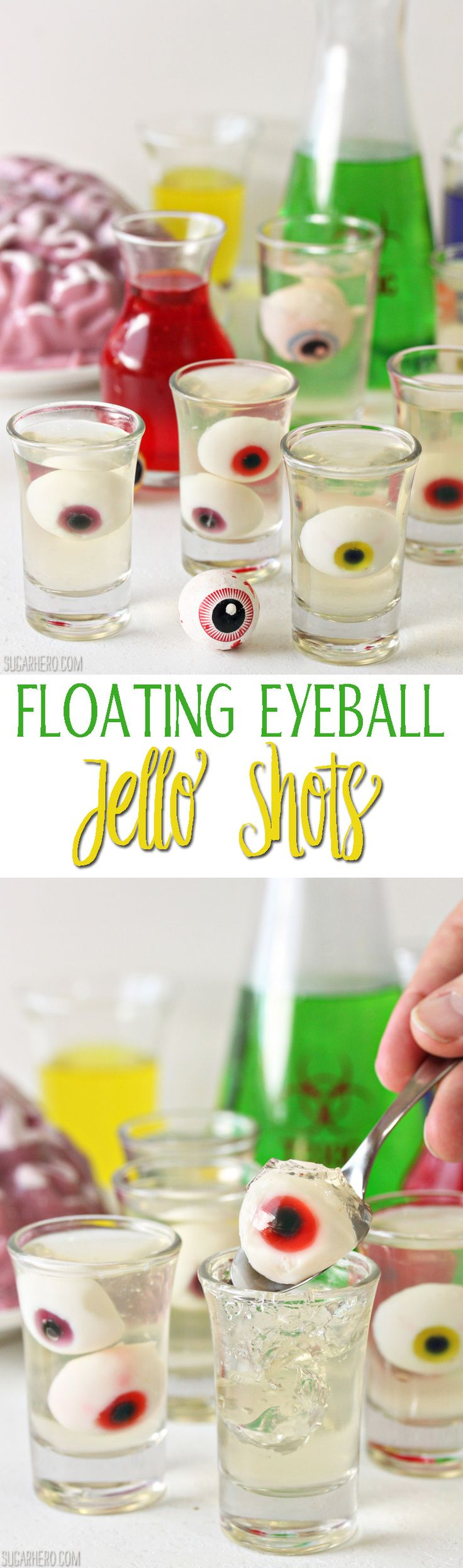 Floating Eyeball Jello Shots - so easy (and so creepy!) for Halloween | From SugarHero.com