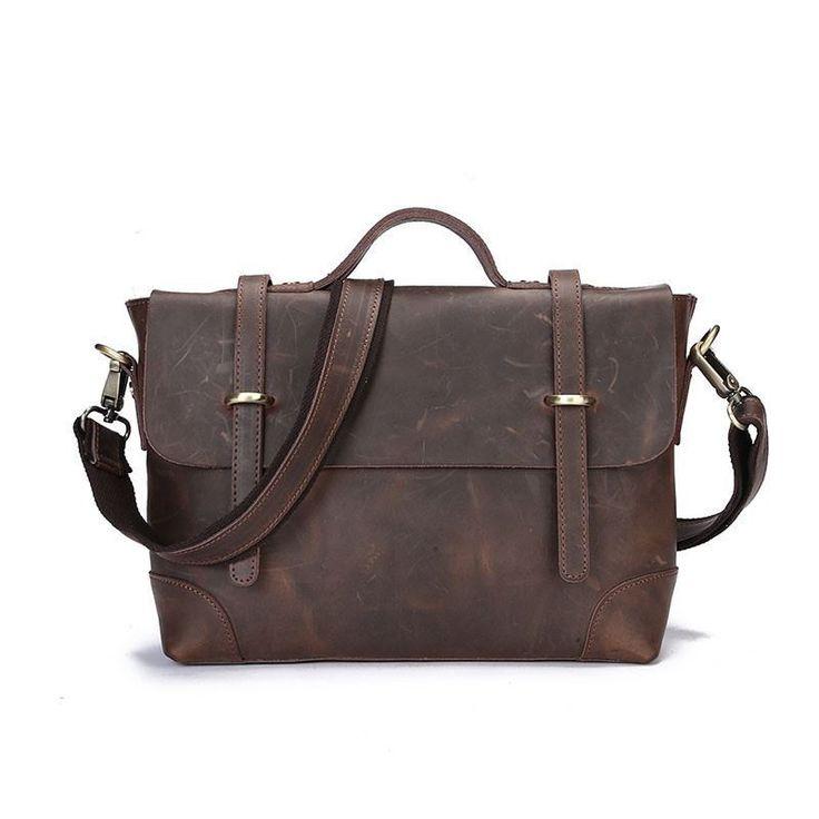 NEW Arrival Men Vintage Bag Genuine Leather Laptop Case Cow Skin Crazy Horse Bag