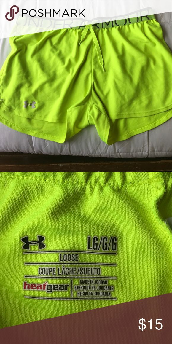 Neon Yellow Under Armor shorts Worn a few times, too small now. Under Armour Shorts Skorts