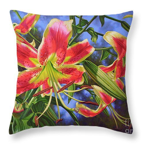 "Sheherazade Lilies 1 Throw Pillow 14"" x 14"" from oil painting by Fiona Craig (the FAA watermark does NOT appear on the actual product) #ThrowPillows #ThrowCushions #flowers #HomeDecor #art #paintings"