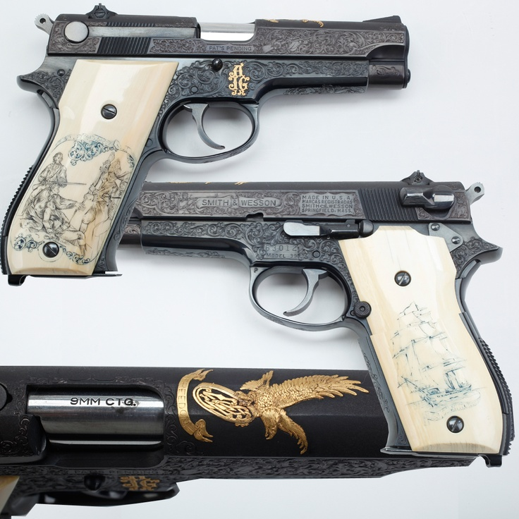 """Smith & Wesson Model 39 9mm Pistol- This Smith & Wesson Model 39 9mm pistol semi-automatic has several unique embellishments. From the scrimshawed ivory grip panels with """"Old Ironsides"""" sailing proudly on one side and a weary trio of Patriots standing off the British onslaught at Bunker Hill covering the other; surmounting the pistol's slide top is a striking golden emblem – an American bald eagle holding in its talons the Smith & Wesson corporate logo."""