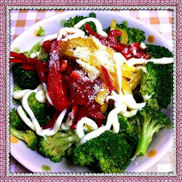 塩ドレッシングとマヨネーズで。パプリカ、サニーレタス、ブロッコリーうまー! - 13件のもぐもぐ - パプリカブロッコリーサラダ by 華ちゃん
