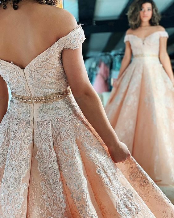 dbd1ae0b7 Gorgeous Appliques Off the Shoulder Pearl Pink Prom Dress by Hiprom,  $215.19 USD Elegant Prom