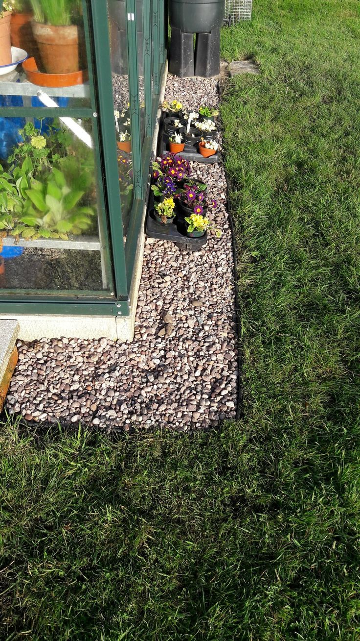 Border of 20mm gravel on fabric around the greenhouse to give a tidy edge (otherwise can't strim without risk of breaking glass; can't get mower tight up to greenhouse base)