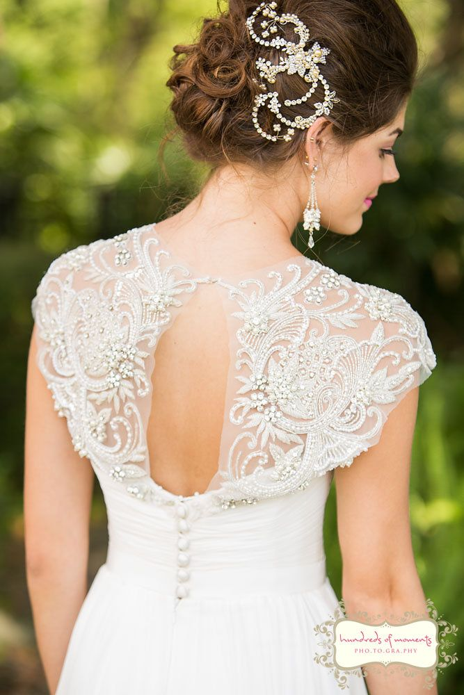 """Elegant white wedding dress from Solutions Bridal: Beaded cap sleeve gown: """"Cherish"""" by Suzanne Neville and Paris by Debra Morland hair piece. (See more at: http://www.hundredsofmoments.com)"""