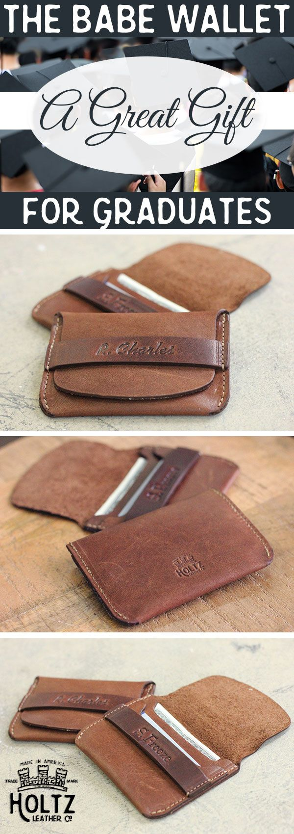 This Babe Wallet is a great gift for any recent graduate. Whether they're headed off to college or to their first job, this wallet is a great tool to have on hand. handmade wallet is made from Full Grain American leather, and is a great place to store business cards and new student IDs.