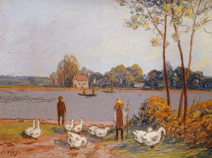 sisley paintings images | By the River Loing - Alfred Sisley - WikiPaintings.org