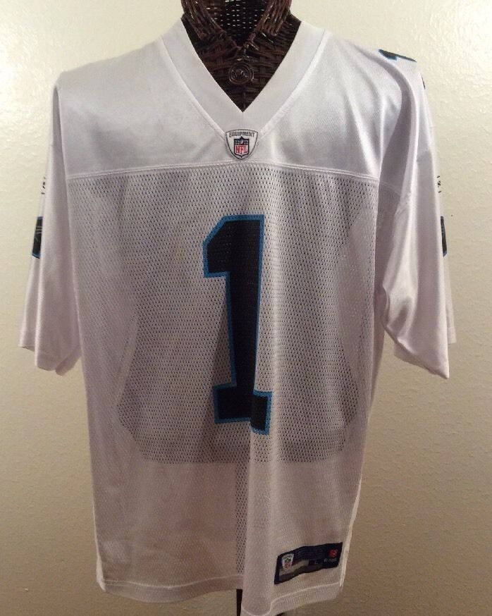 NFL Cam Newton Carolina Panthers Football Mens White Jersey XL Reebok Size XL #Reebok #CarolinaPanthers
