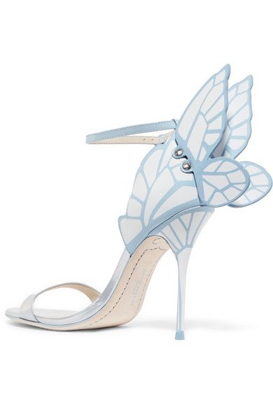 Heel measures approximately 100mm/ 4 inches Silver, white and sky-blue patent-leather Buckle-fastening ankle strap Designer color: Ice Blue Made in Italy