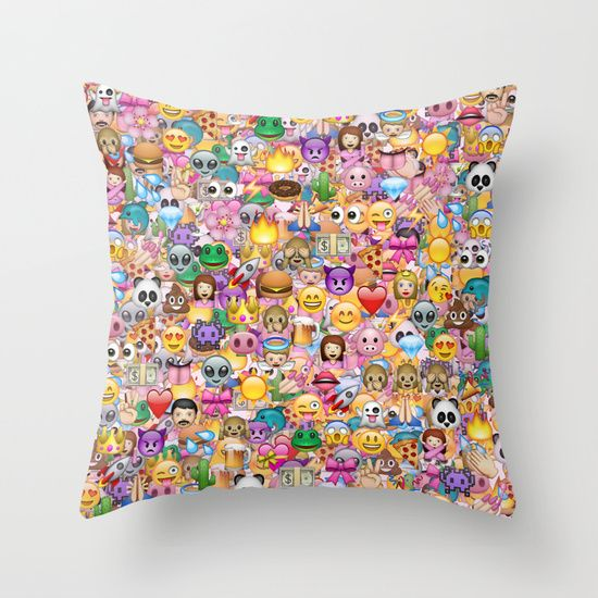 emoji / emoticons Throw Pillow by Marta Olga Klara - $20.00