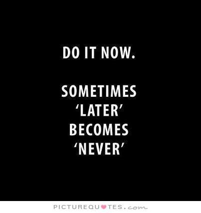 """Do it now. Sometimes """"later"""" becomes """"never"""". #PictureQuotes"""