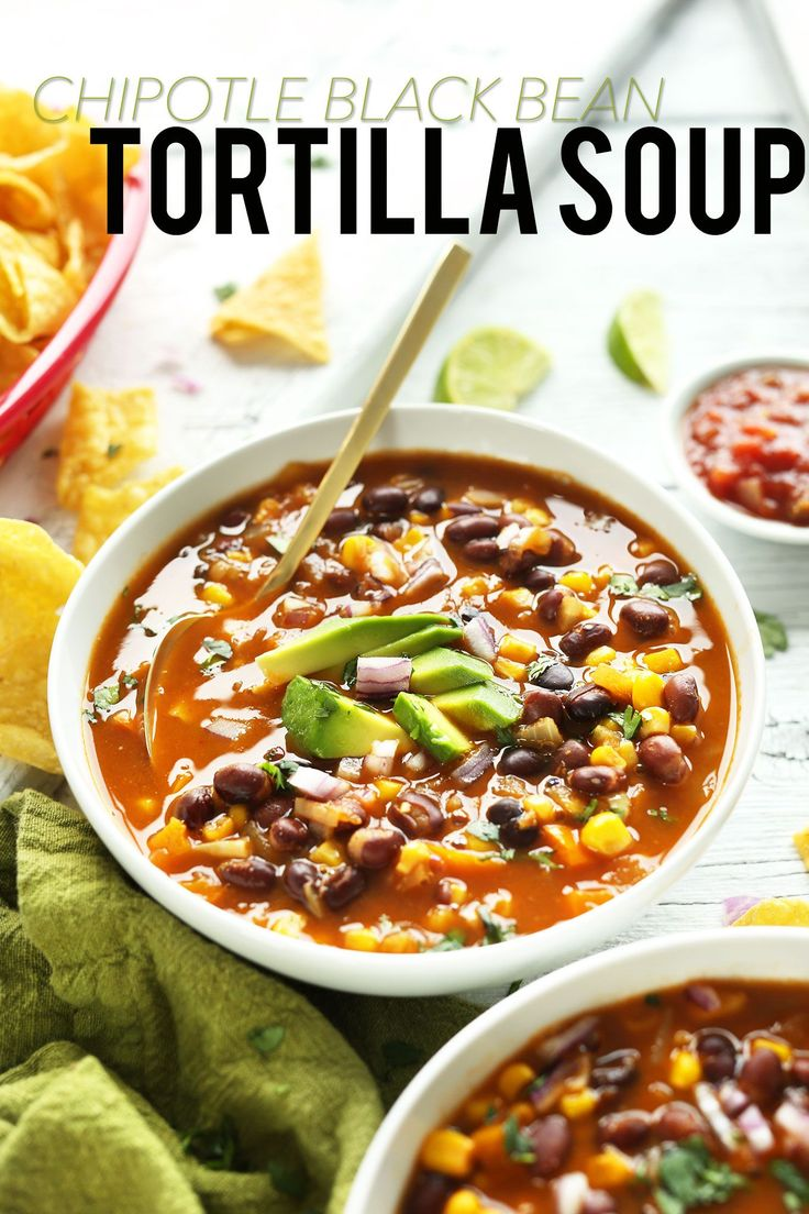 Recipe for vegan chipotle black bean tortilla soup. Posted on minimalistbaker.com by Dana and John.