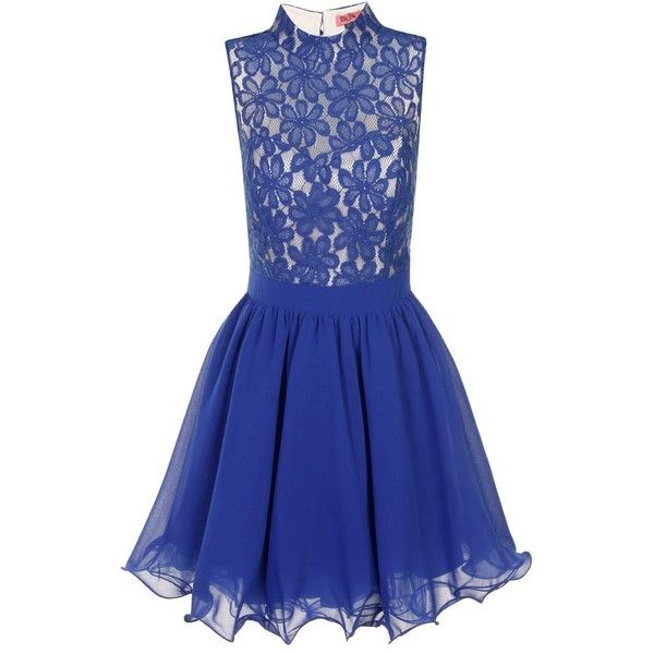 Chi Chi London Lace Fit & Flare Skater Dress ($38) ❤ liked on Polyvore featuring dresses, blue, flowers, snow white, clearance, skater dress, blue fit-and-flare dresses, fit and flare dress, lace prom dresses and lace skater dress