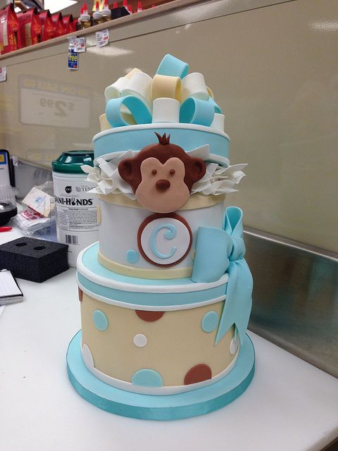 Monkey In The Middle *Baby Shower Cake I Made For A Coworker   The Monkey  Matches The One In The Bedding :)