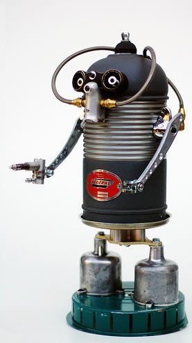 Walter – aka The Lung    Amazing Robot Art…yeah Walter's feet are old SU carburetor covers and the green base is the motor cover off a Westinghouse electric vacuum cleaner.