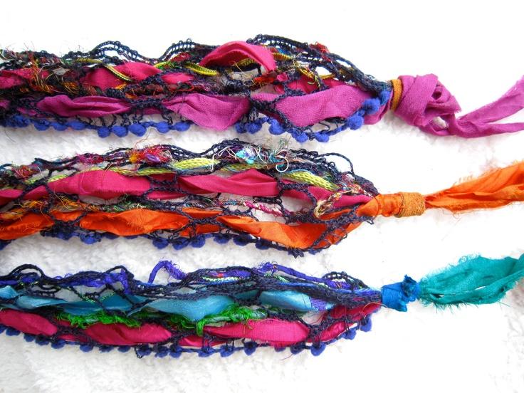 Hippie Headband Bandana and Wrist Wrap Bracelet by BornRubie. $22.00, via Etsy.
