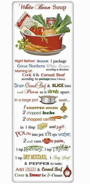 White Bean Soup Recipe 100% Cotton Flour Sack Dish Towel Tea Towel