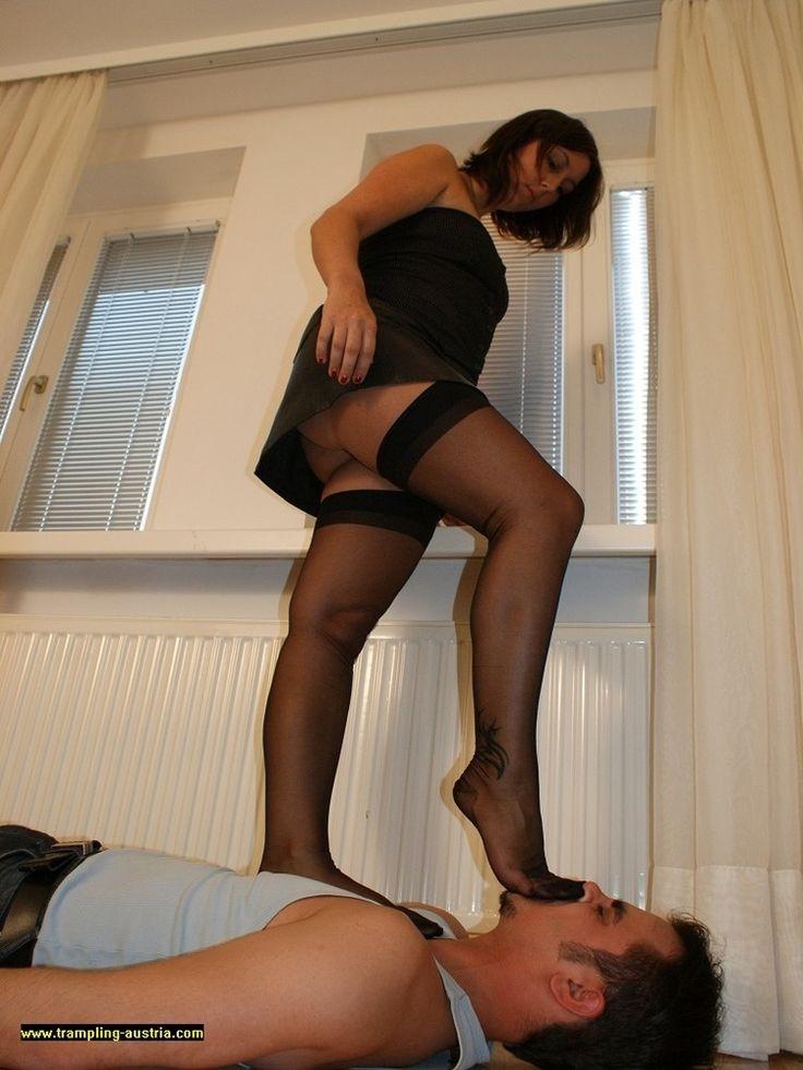 Femdoms in nylons stilettos make sissy slut worship heels feet legs trampling smothering