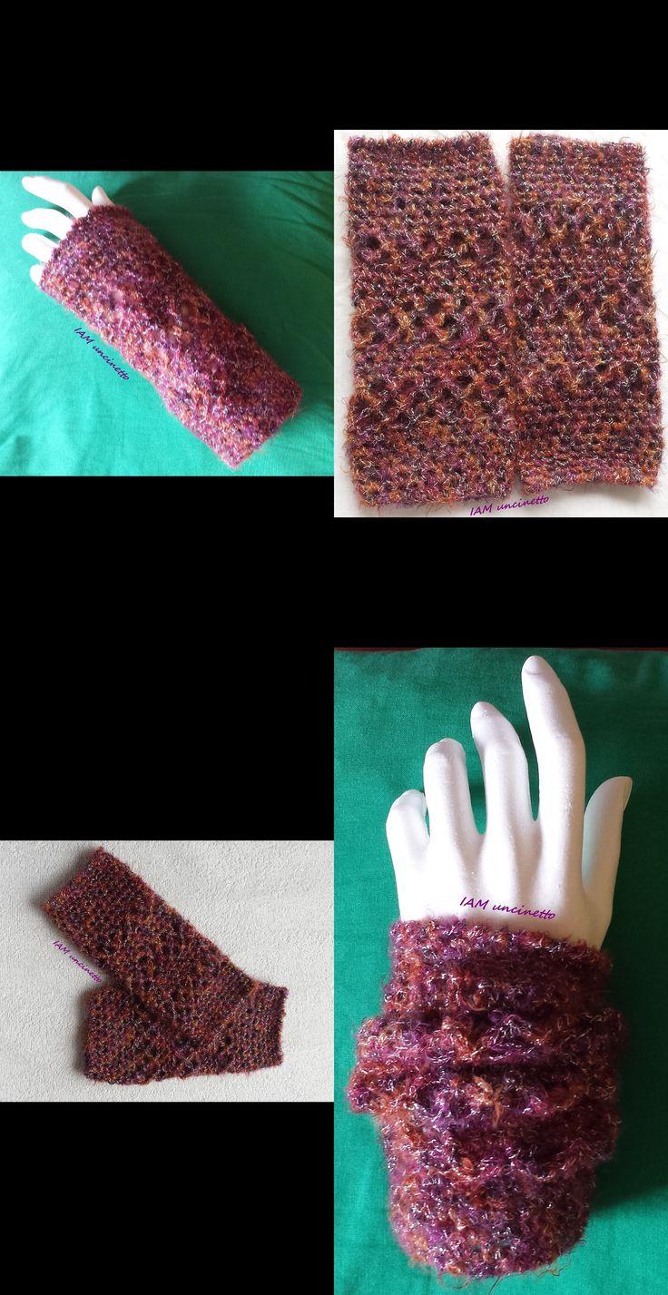 Scaldapolsi, mezzi guanti, all'uncinetto, filato vegan. Crochet mittens. #handmade #fattoamano #madeinItaly #vegan #woolfree #iamuncinetto