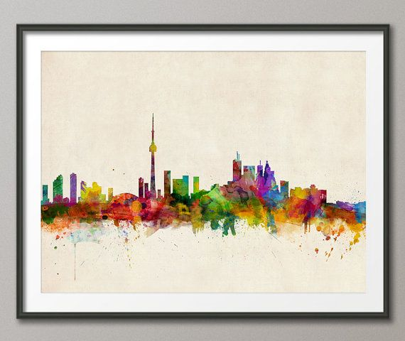Toronto Canada City Skyline Art Print 299 by artPause on Etsy, £11.99