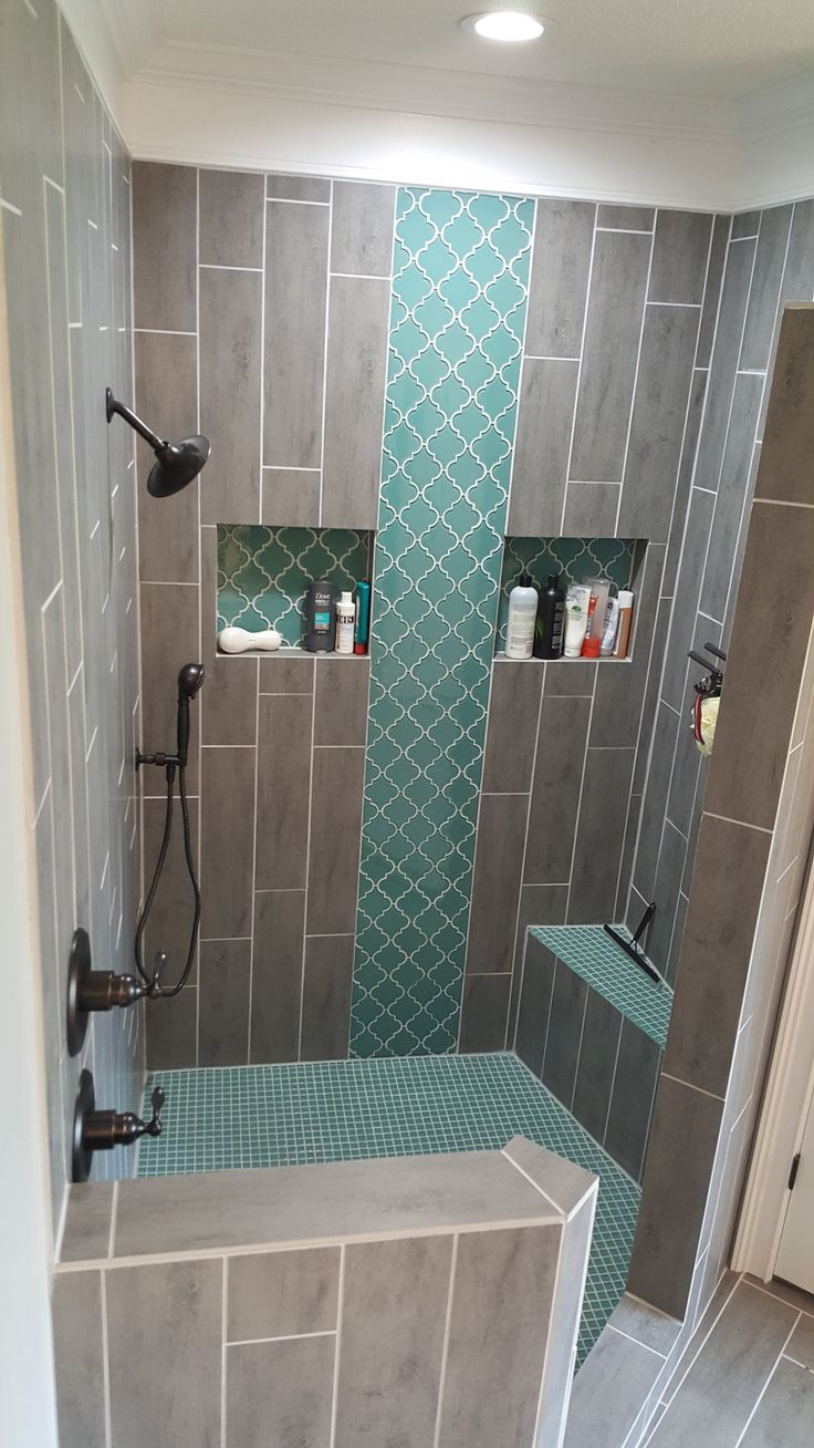 Teal arabesque tile accent teal shower floor grey for Teal and gray bathroom ideas